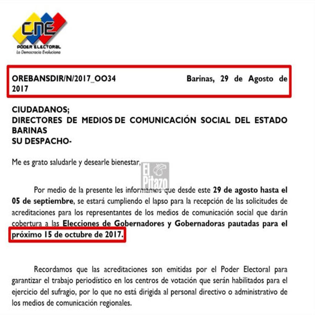 CNE Fecha de Elecciones Regionales 2017 Venezuela