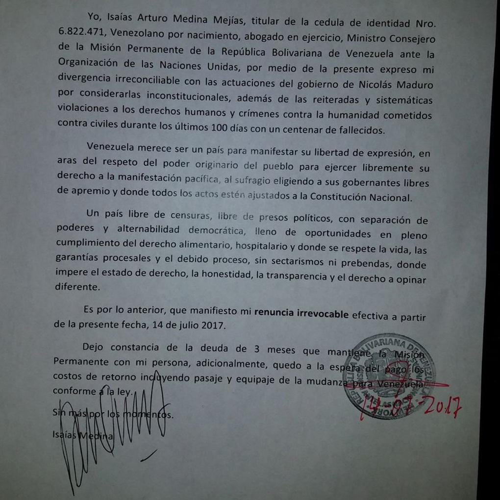 Isaías Medina de la ONU denuncia violación de DDHH y renuncia