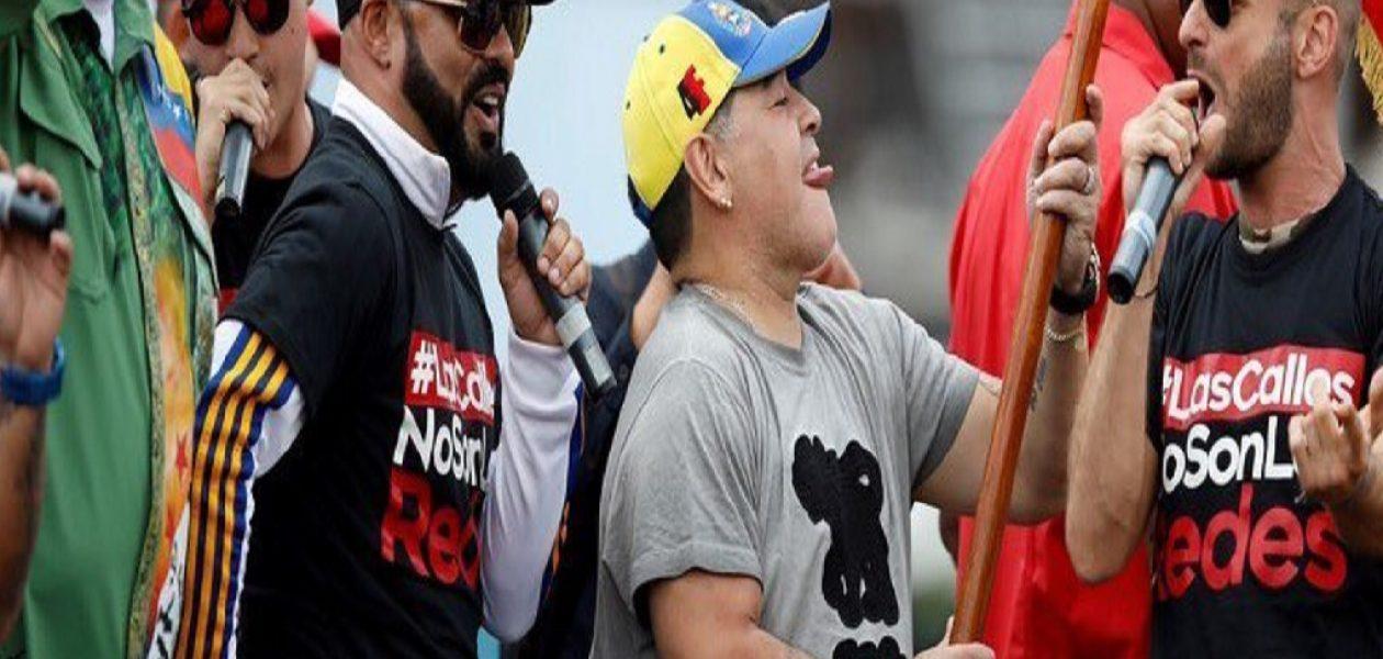 El nuevo show de Maradona durante acto de campaña de Maduro