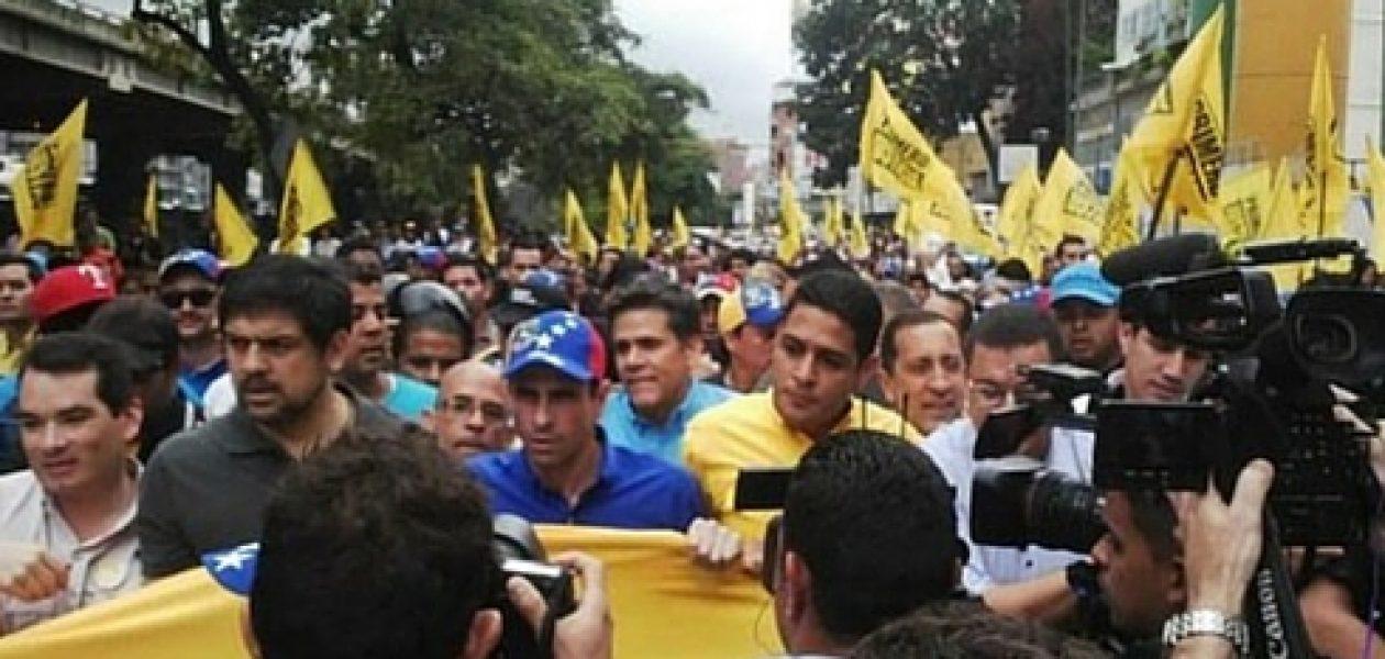 Así transcurre la marcha rumbo al CNE en Caracas