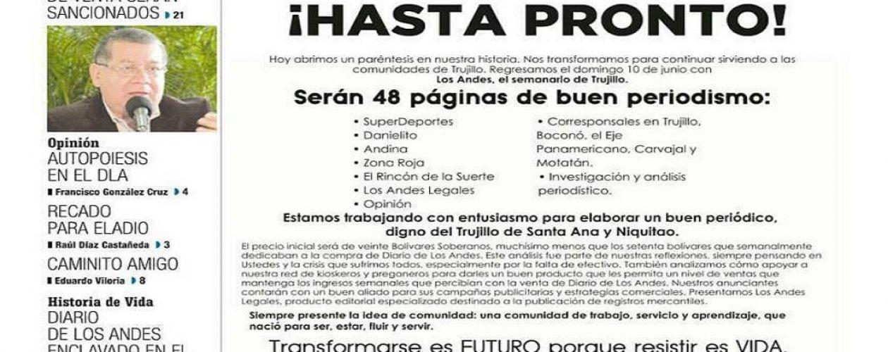 Por falta de papel Diario de Los Andes será publicado como semanario