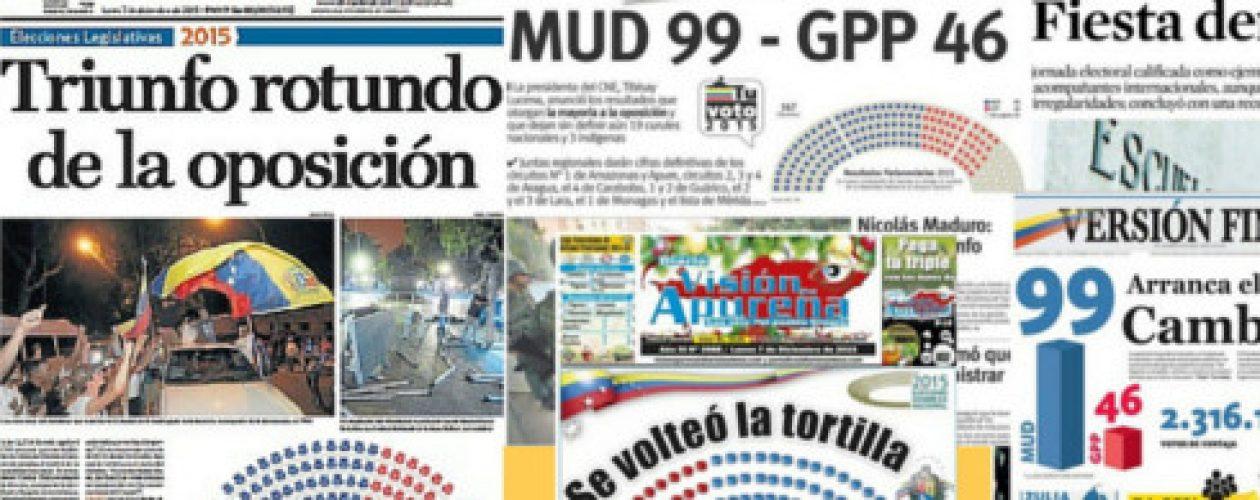Así tituló la prensa los resultados electorales