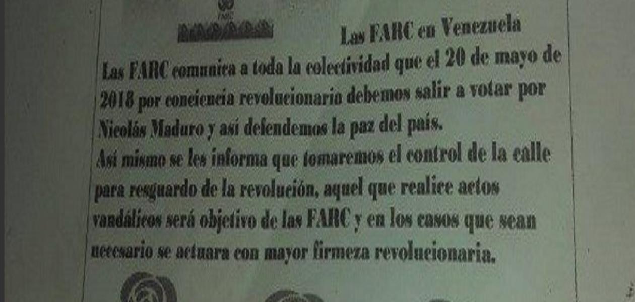 FARC realiza campaña electoral a favor de Nicolás Maduro