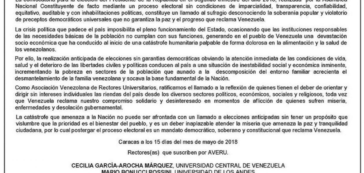 Asociación Venezolana de Rectores Universitarios emitió comunicado rechazando celebración de elecciones