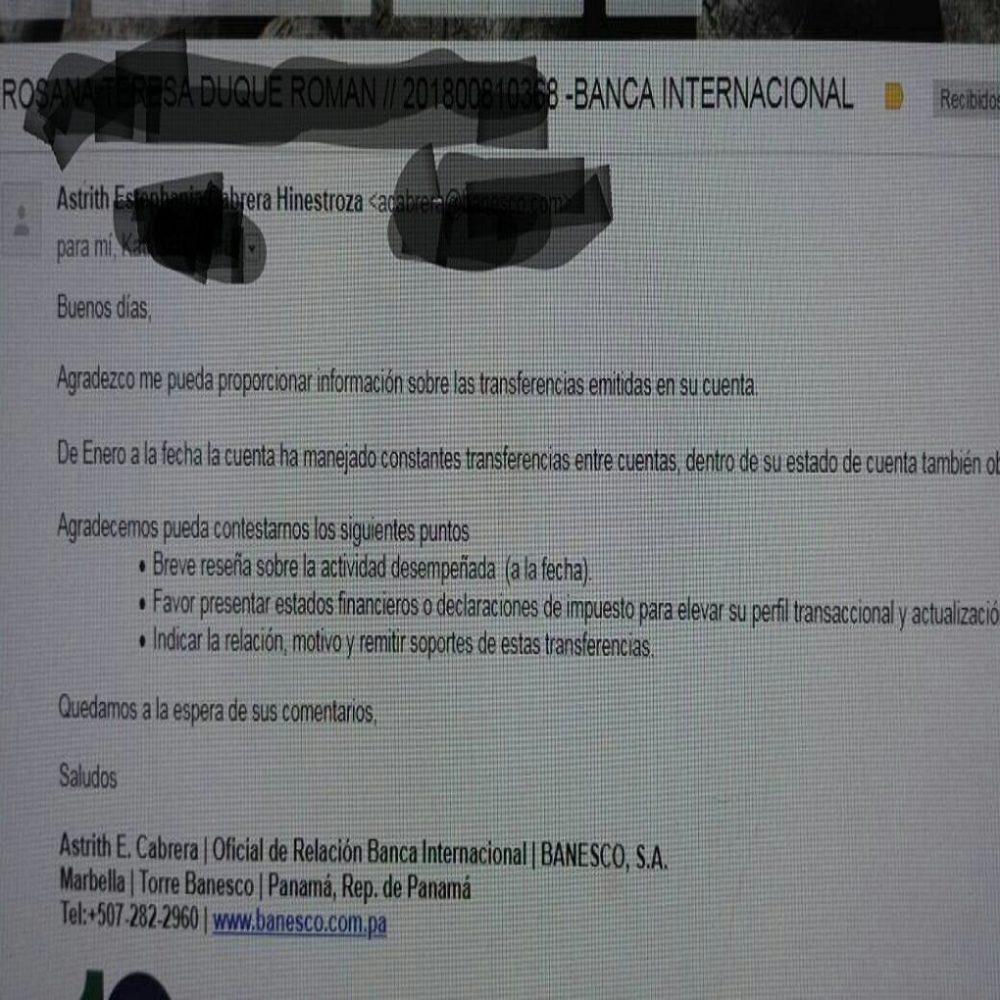 Denuncian que Banesco Panamá solicita a sus cuentas manejadas desde Venezuela detalles de las transferencias