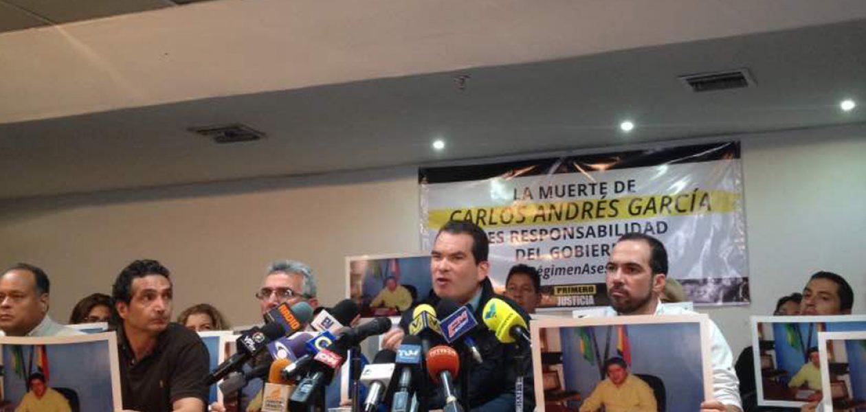 Rechazan muerte del concejal Carlos Andrés García