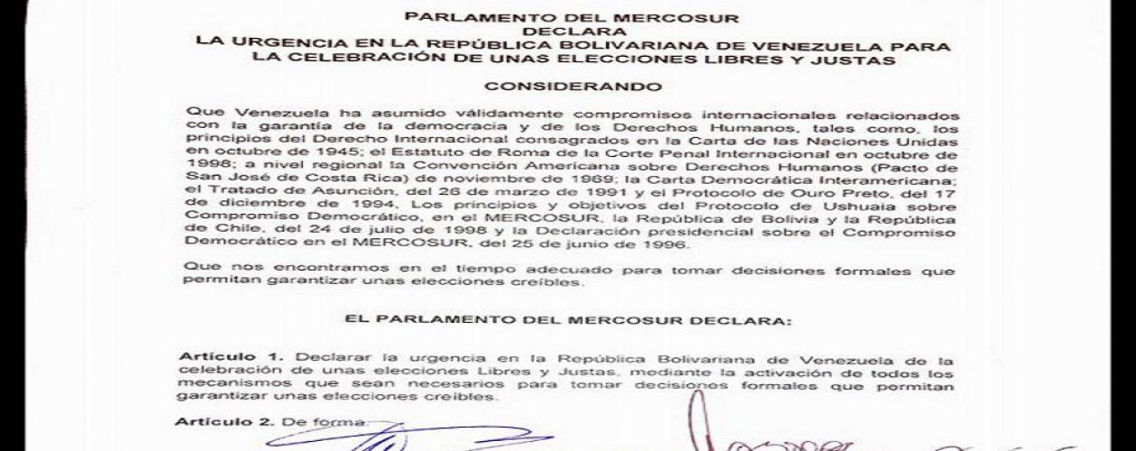 Mercosur  declaró emergencia electoral en Venezuela  (Comunicado)