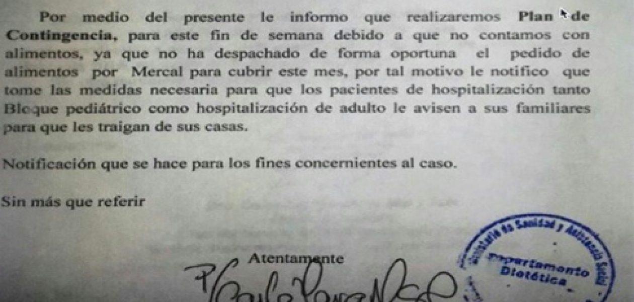 El Hospital Universitario de Maracaibo se quedó sin comida