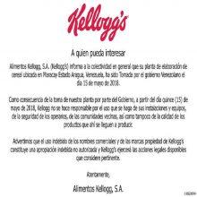 Kelloggs se desentiende de su planta en Maracay (Comunicado)