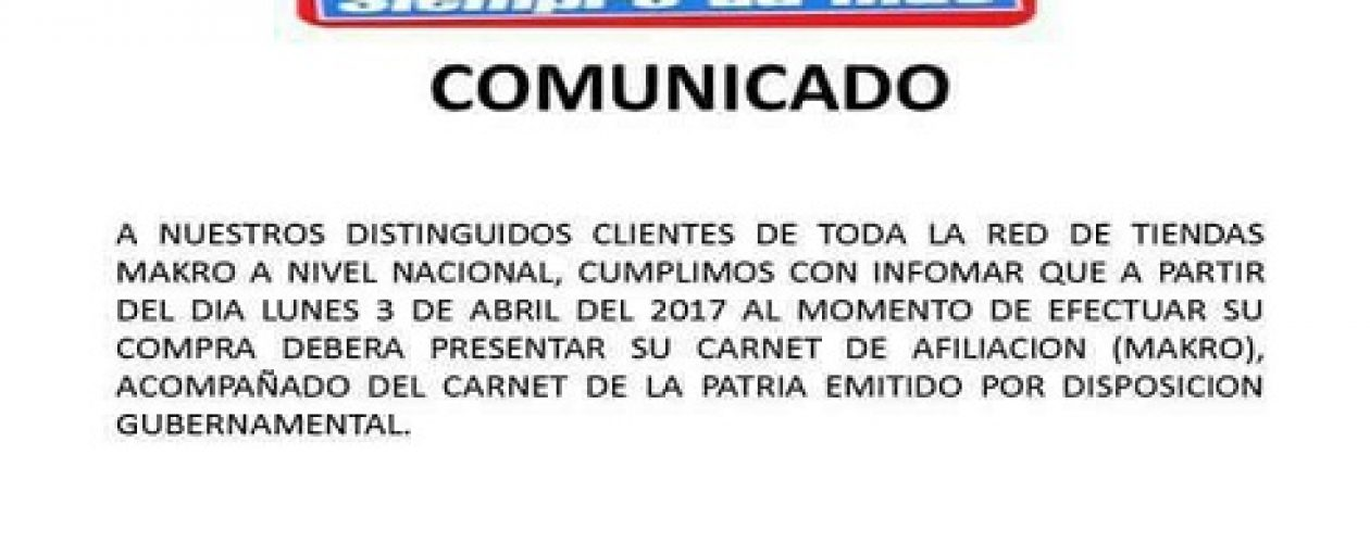 Makro Venezuela pidió a sus afiliados no creer en comunicados falsos