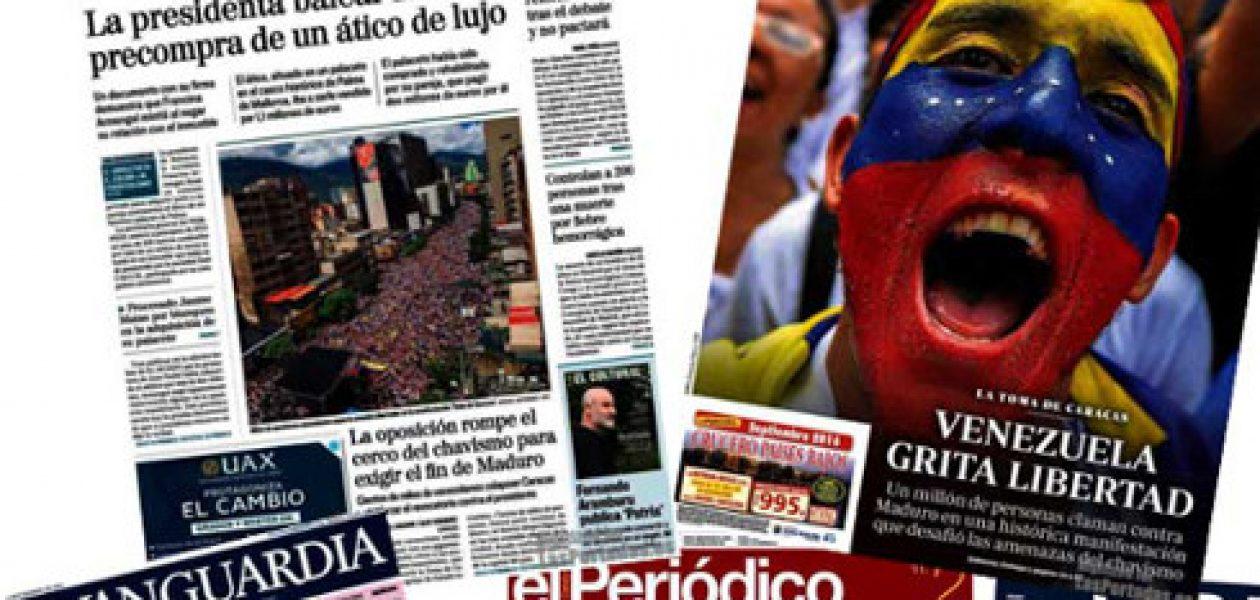 Portadas de prensa española se convierten en prensa local venezolana