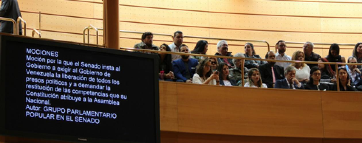Libertad para presos políticos en Venezuela aprobada en el Pleno del Senado español
