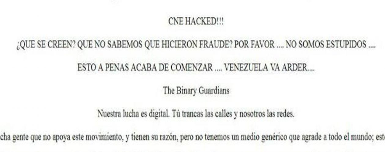 Página web del CNE amaneció hackeada