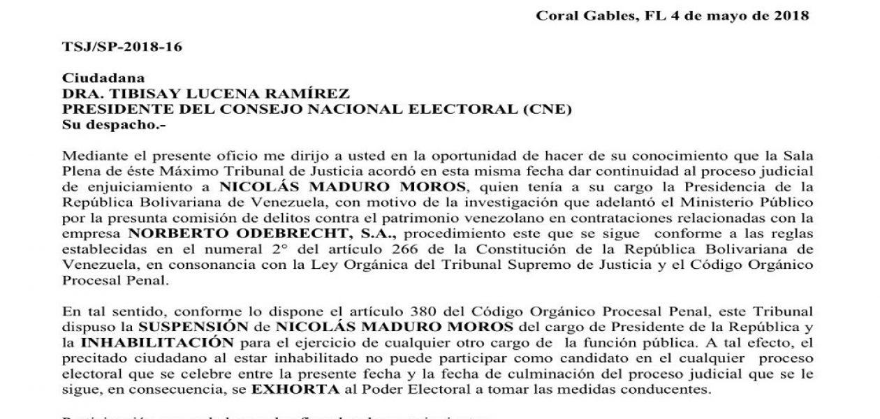 TSJ legítimo notificó  al CNE que Maduro fue destituido e inhabilitado politicamente