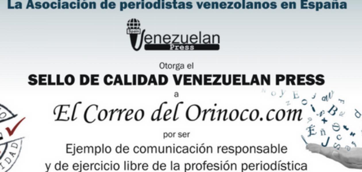 ElCorreoDelOrinoco.com recibe el Sello de Calidad Venezuelan Press