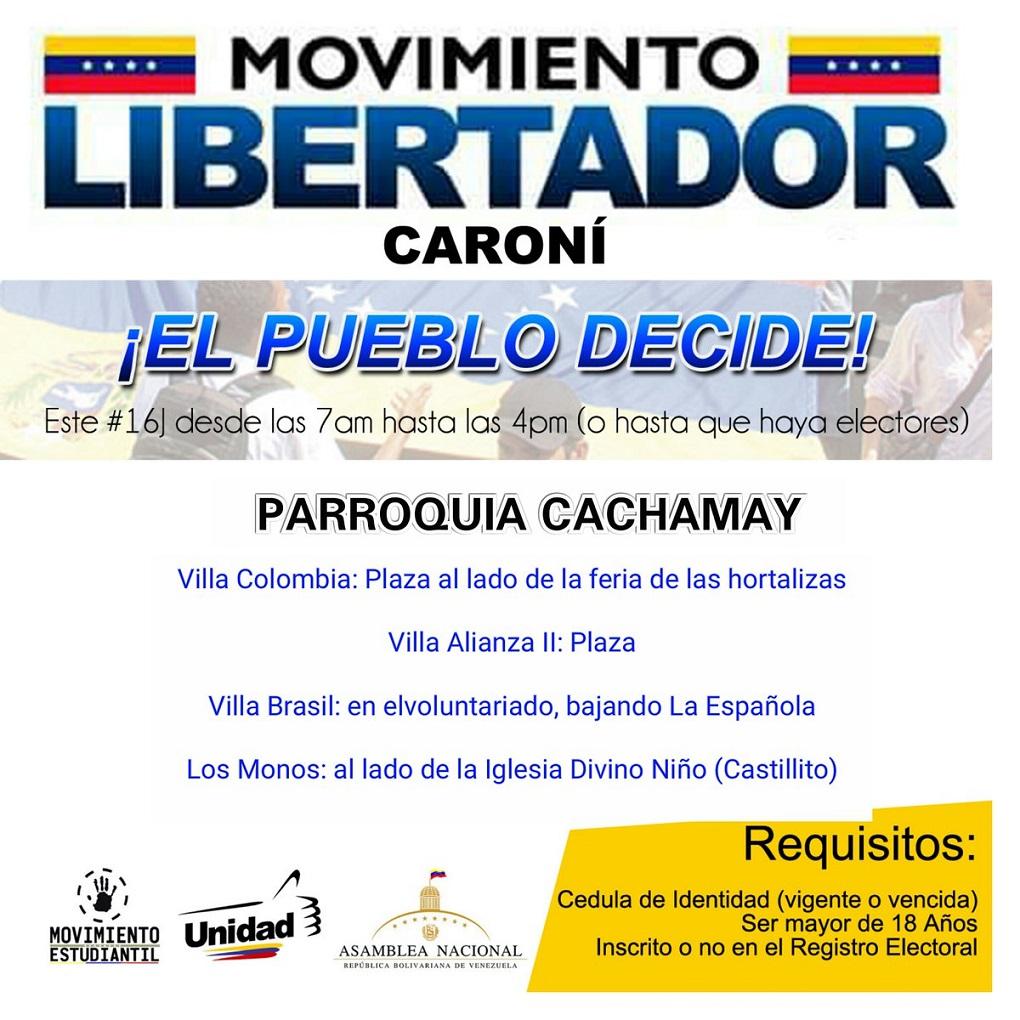 ¿Sabes dónde votar el 16 de julio en el estado Bolívar?